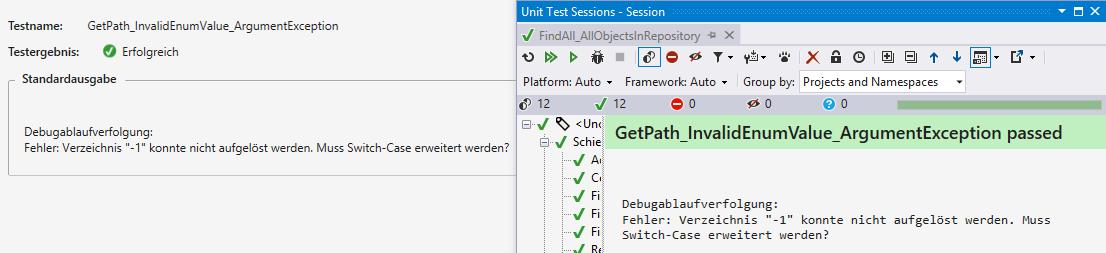 Ausgabe einer Assertion-Meldung im TestRunner-Protokoll von Visual Studio und ReSharper